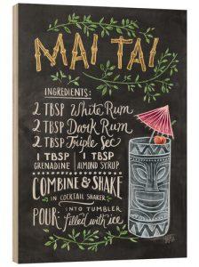tableau en bois recette du mai tai de lily & val